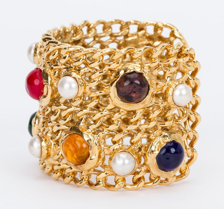 1970's Vintage Chanel Collectible Gripoix Cuff Bracelet In Excellent Condition For Sale In Los Angeles, CA