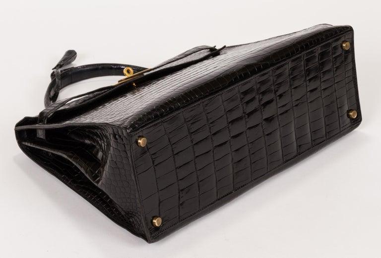 1960 s Vintage Hermes Black Crocodile Kelly 35 Bag For Sale at 1stdibs db9ad47a92
