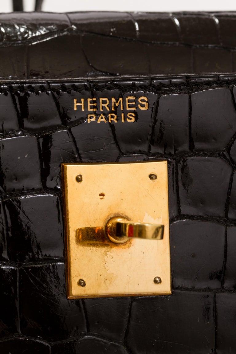 1960's Vintage Hermes Black Crocodile Kelly 35 Bag For Sale 4