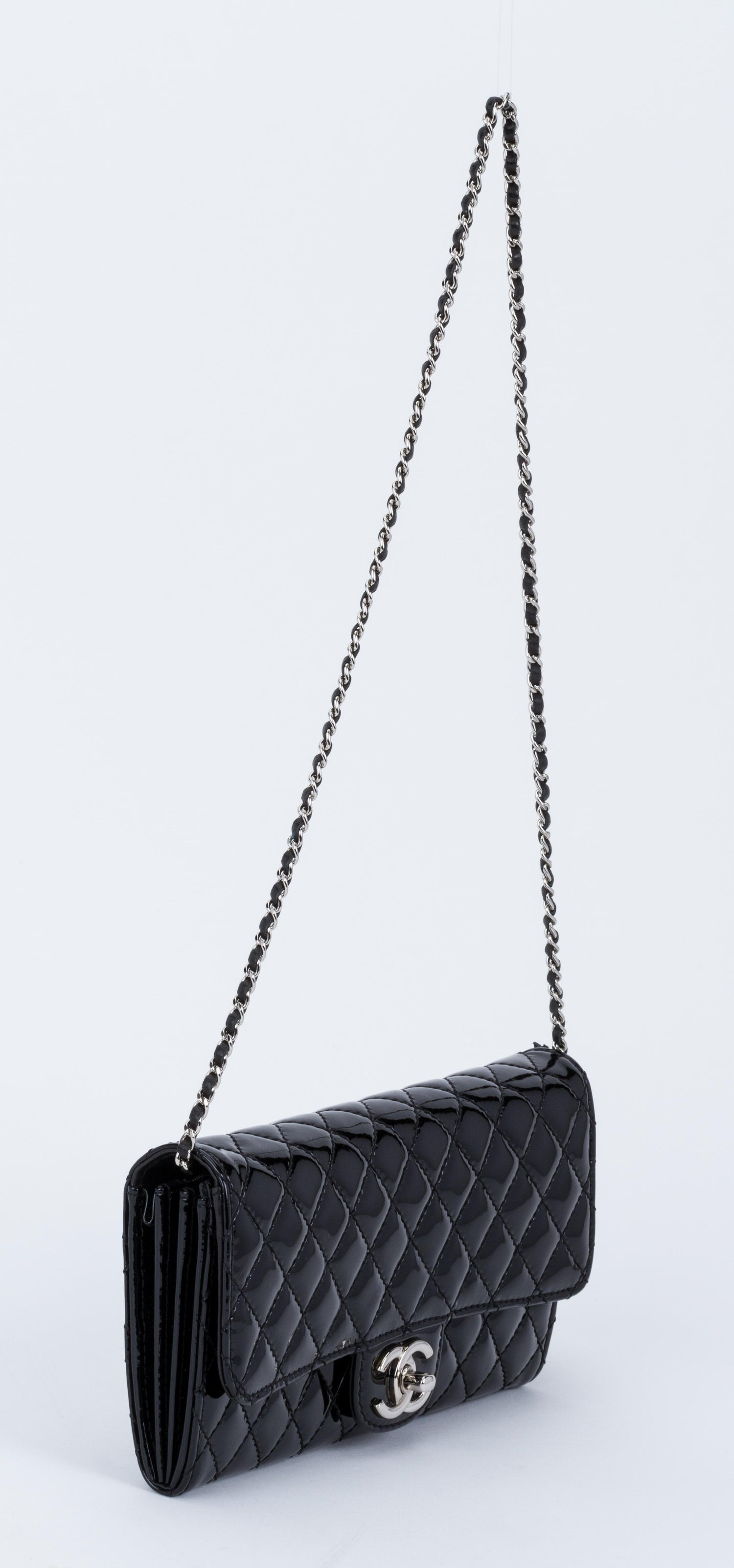 c3fffa12ac7b Chanel Black Patent 2 Way Pouchette Bag For Sale at 1stdibs