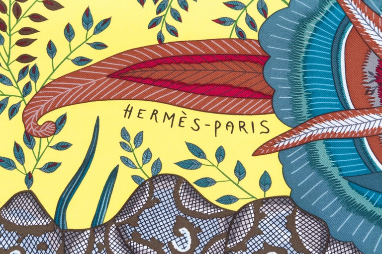 Brown Hermes Flowers of South Africa Silk Scarf For Sale
