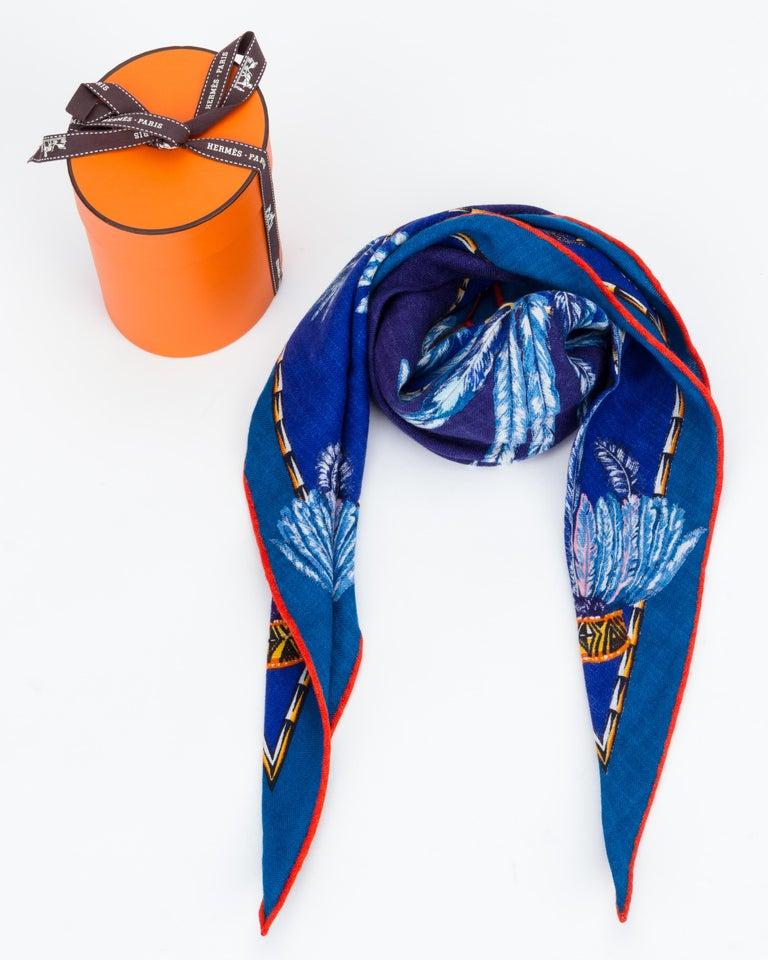 Blue Hermès Brazil Losange Cashmere MM Scarf For Sale