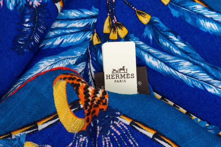Hermès Brazil Losange Cashmere MM Scarf In New Condition For Sale In Los Angeles, CA