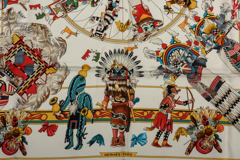 Hermes Kachinas White Silk Scarf by Kermit Oliver In Excellent Condition For Sale In Los Angeles, CA