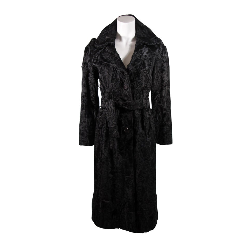 Donald Brooks Black Russian Broadtail Coat with Belt