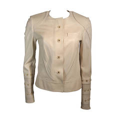Gucci Nude Leather Moto Style Jacket