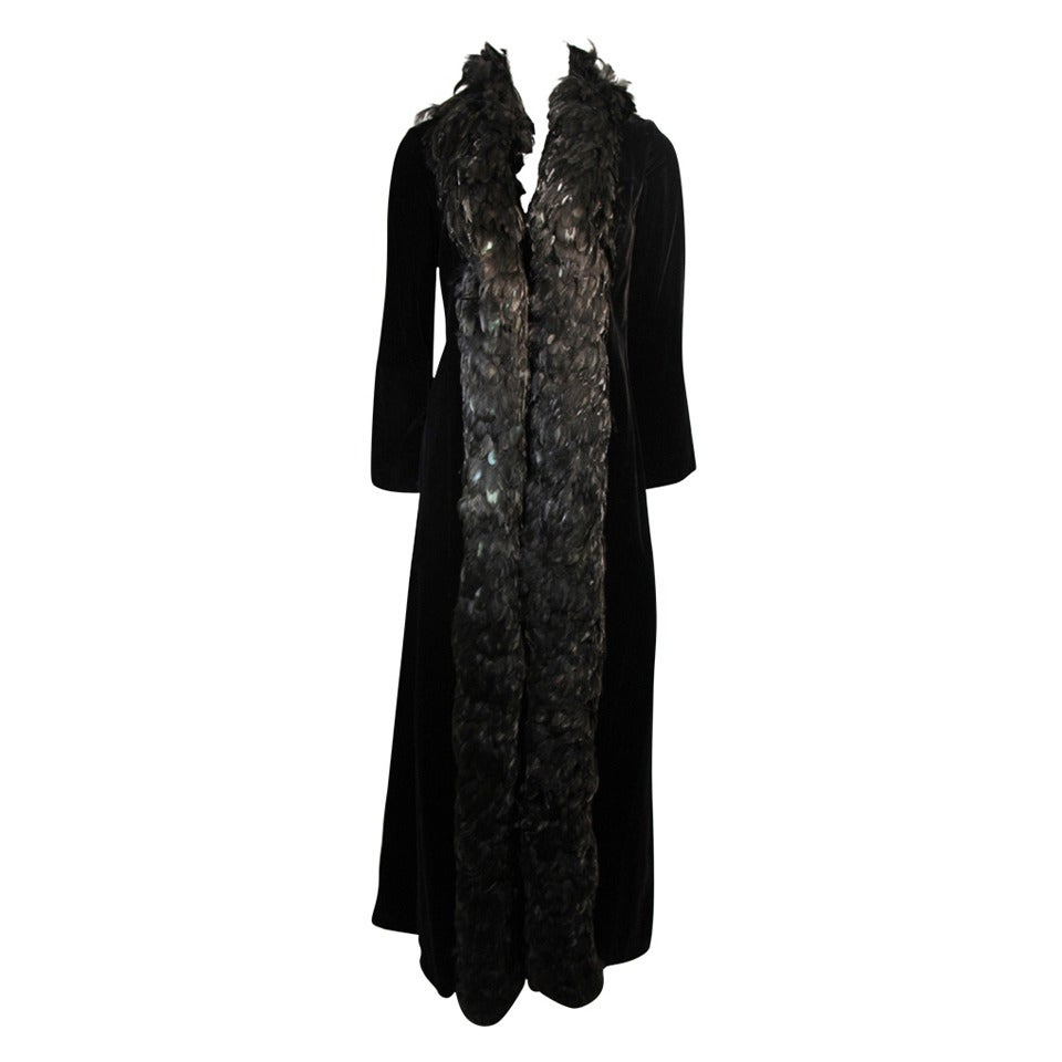 Velvet Feather Trim Coat Size 8 Victoria Royal For Sale