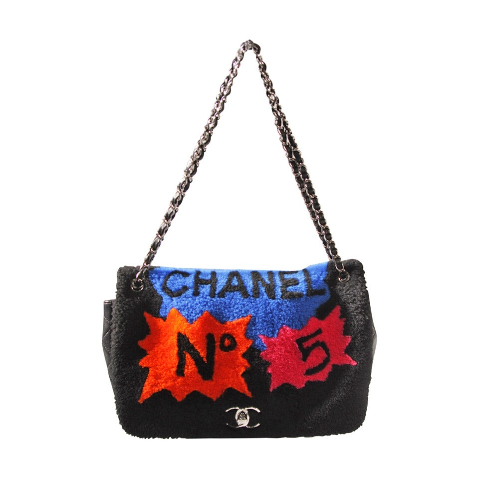 Chanel Shearling Art Pop Large Purse with Quilted Lambskin Fall 2014 For Sale