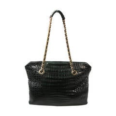La Bagagerie Large Green Crocodile Print Embossed Tote with Chain Strap