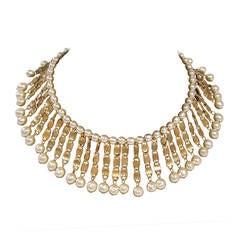 Miriam Haskell Stunning Gold Tone Metal & Faux Pearl Bib Style Choker