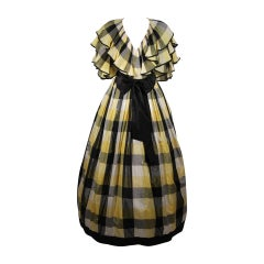 Paul Louis Orrier Ruffled Silk Yellow and Black Plaid Gown Size 10