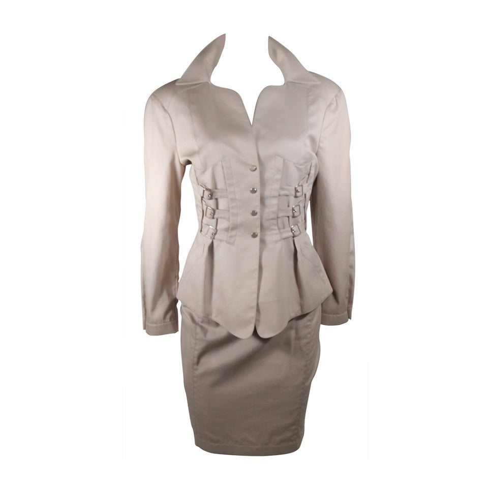 Thierry Mugler Khaki Military and Safari Style Suit Size 40