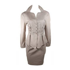 Thierry Mugler Khaki Military and Safari Style Suit Size 40