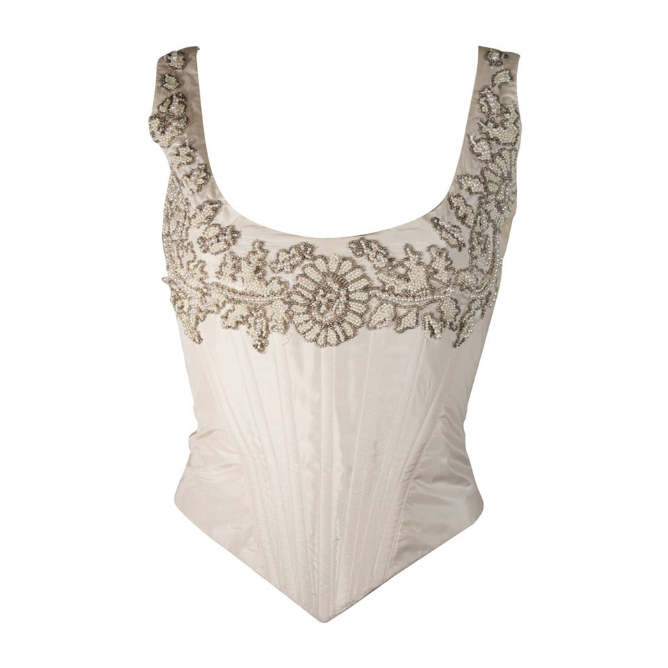 Eavis & Brown London Beaded Cream Silk Corset Bustier Size M For Sale