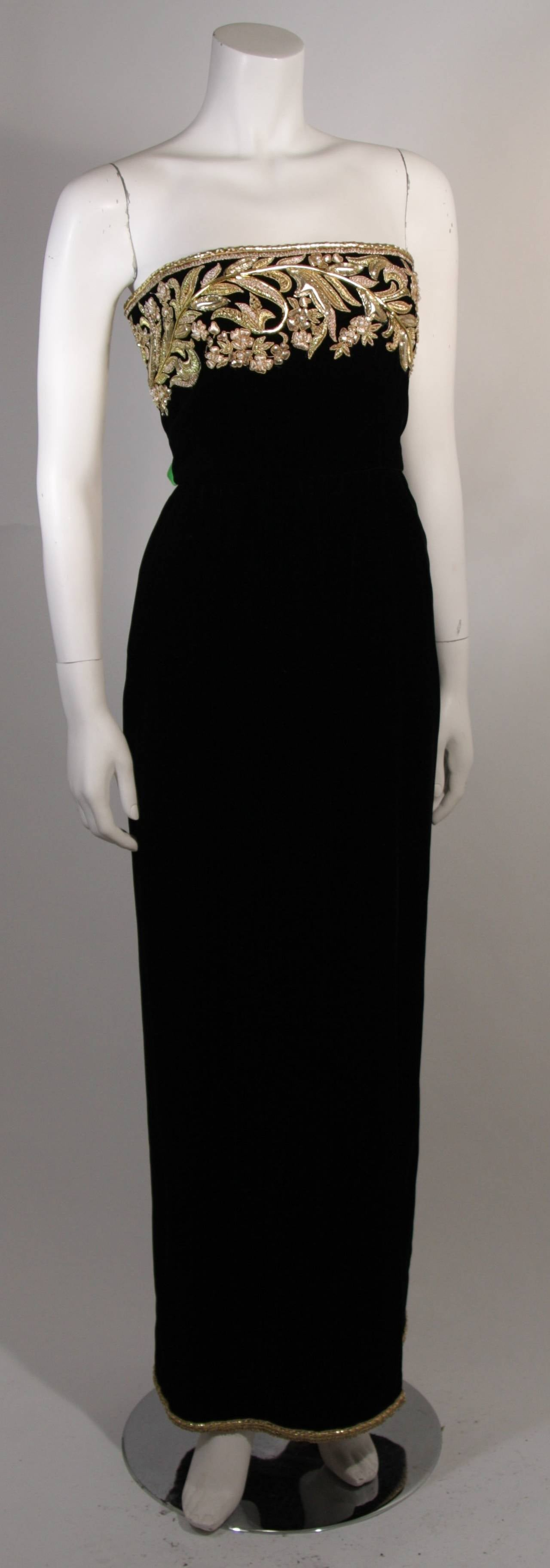 Oscar De La Renta Black Velvet Gown with Metallic Embellishments 2