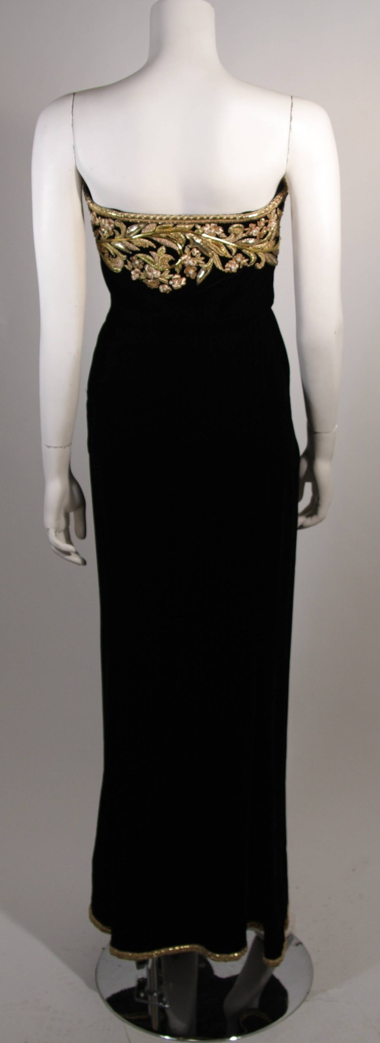 Oscar De La Renta Black Velvet Gown with Metallic Embellishments 9