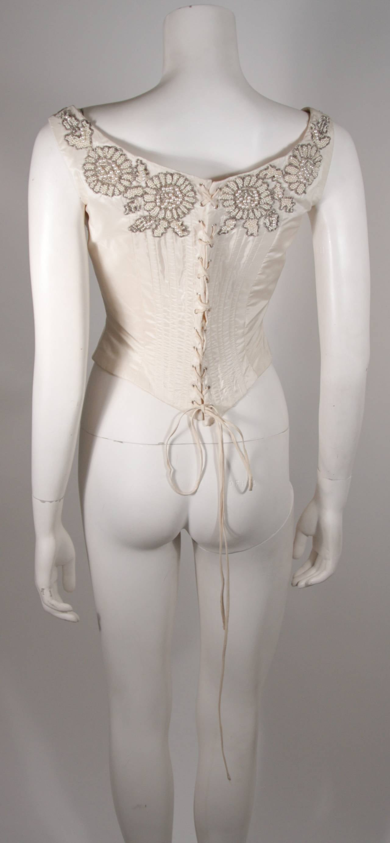 Eavis & Brown London Beaded Cream Silk Corset Bustier Size M 7