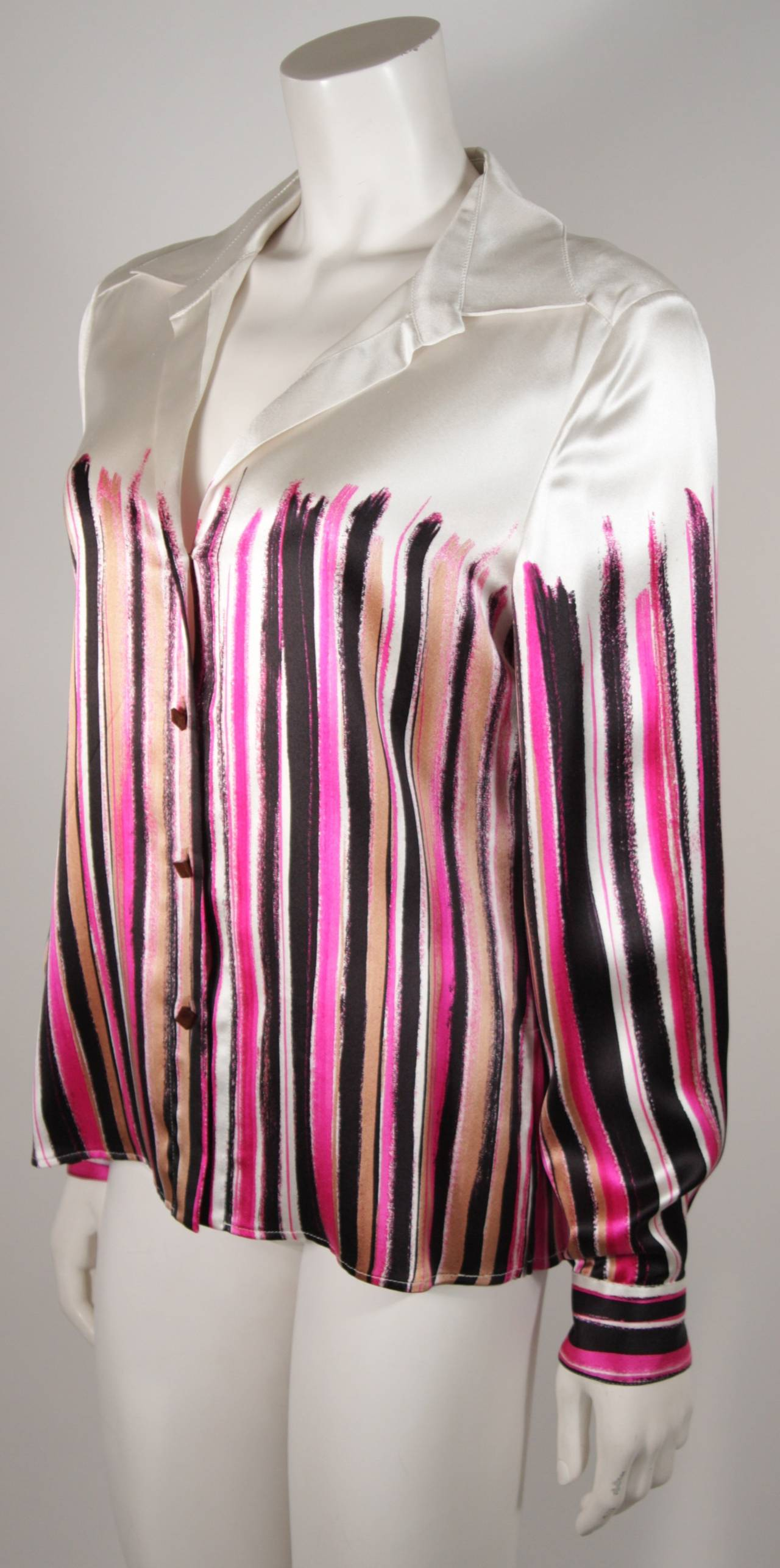 Gianni Versace Ivory and Pink Silk Abstract Print Blouse Size 46 2
