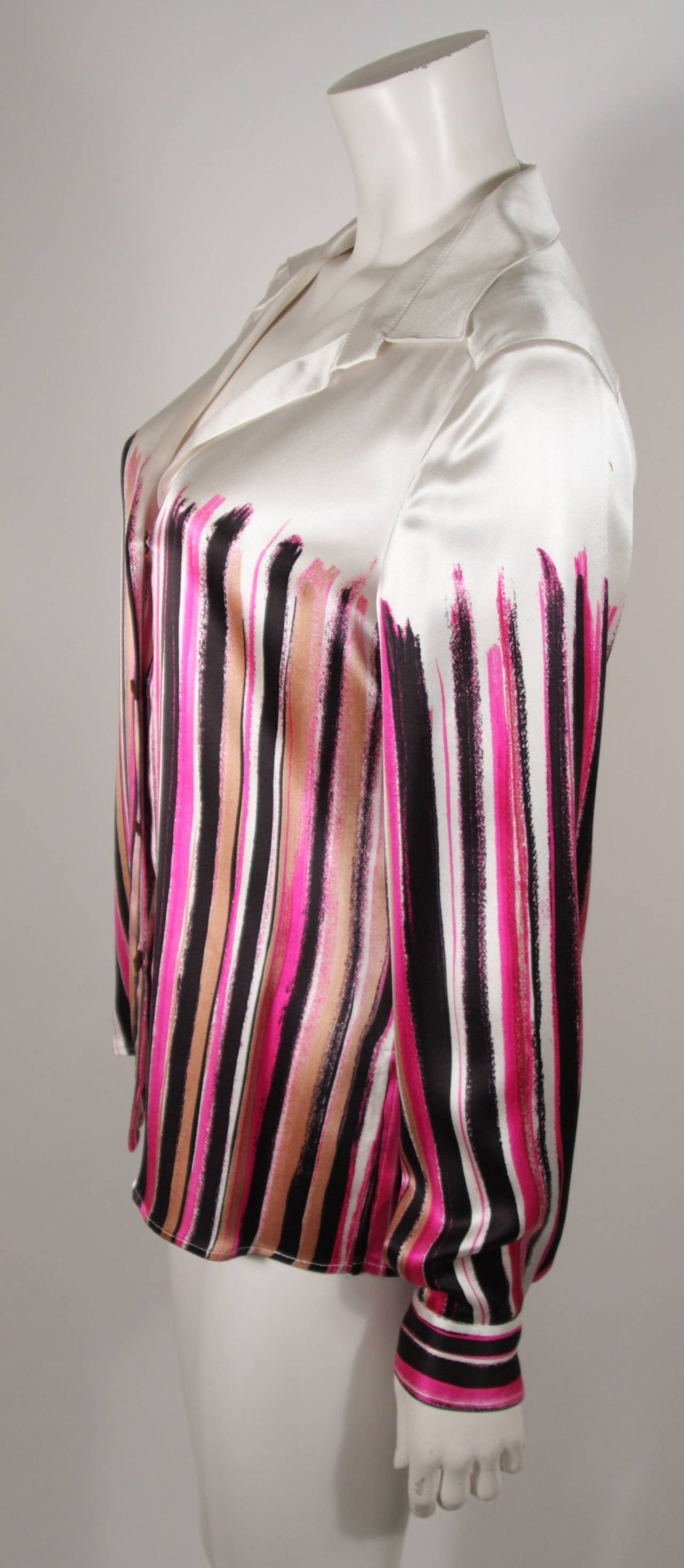 Gianni Versace Ivory and Pink Silk Abstract Print Blouse Size 46 3