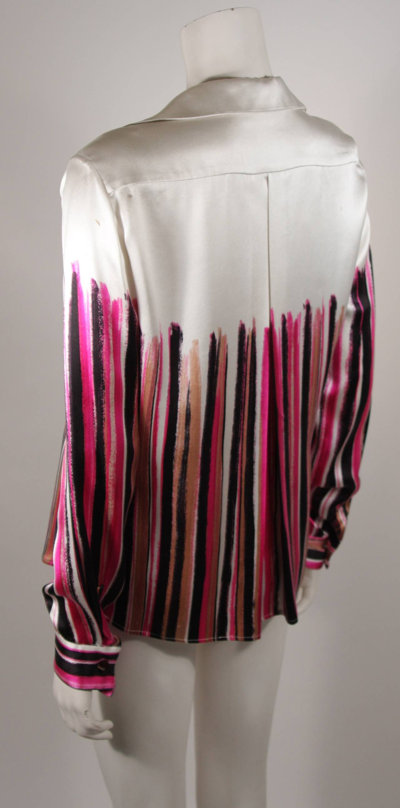 Gianni Versace Ivory and Pink Silk Abstract Print Blouse Size 46 4