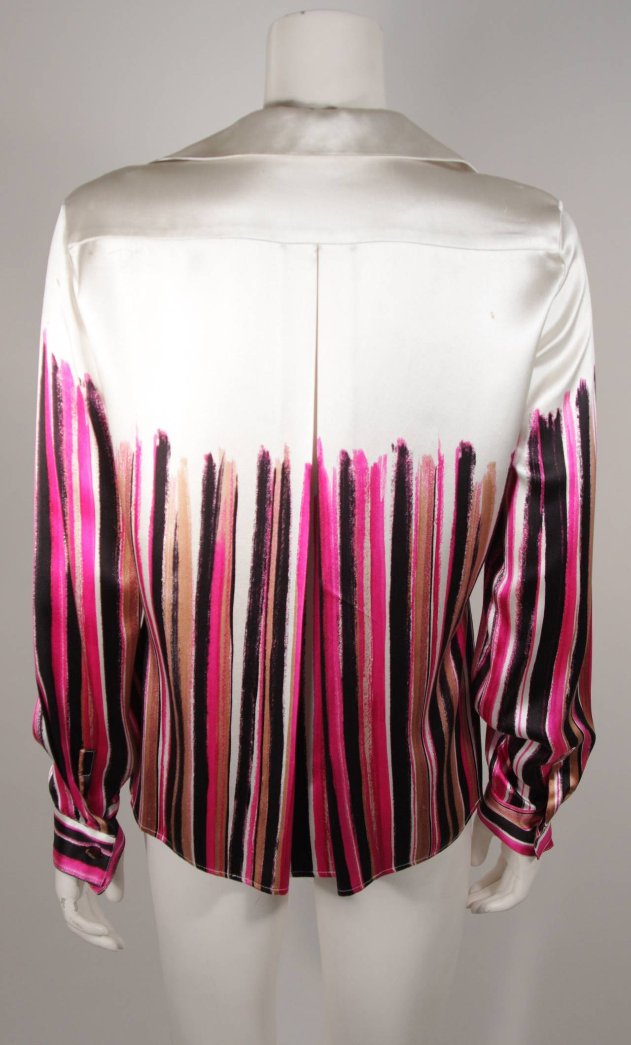 Gianni Versace Ivory and Pink Silk Abstract Print Blouse Size 46 5