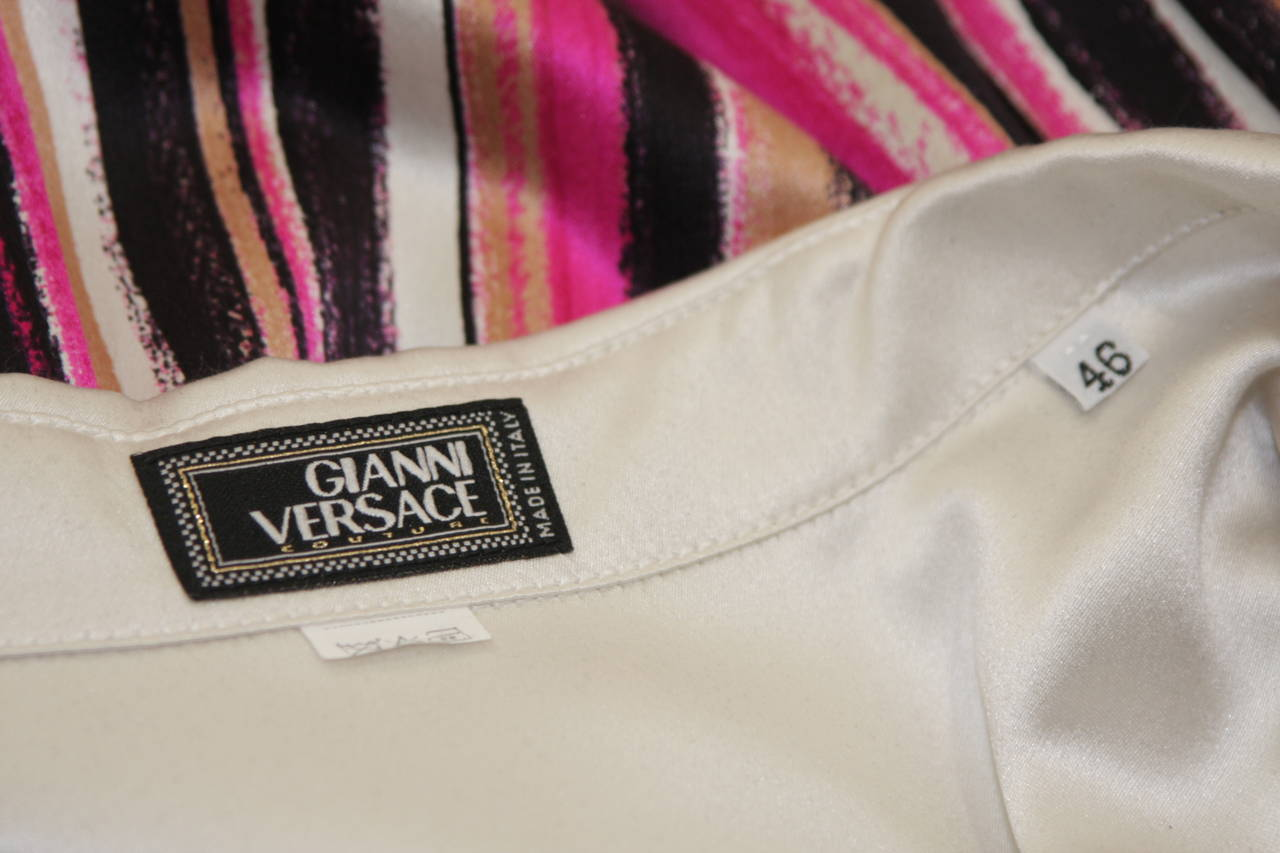 Gianni Versace Ivory and Pink Silk Abstract Print Blouse Size 46 6