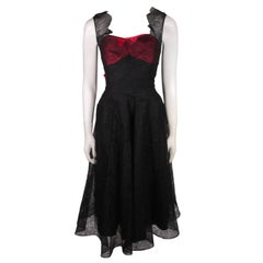 Ceil Chapman Black Lace Cocktail Dress with Large Magenta Bow and Bust