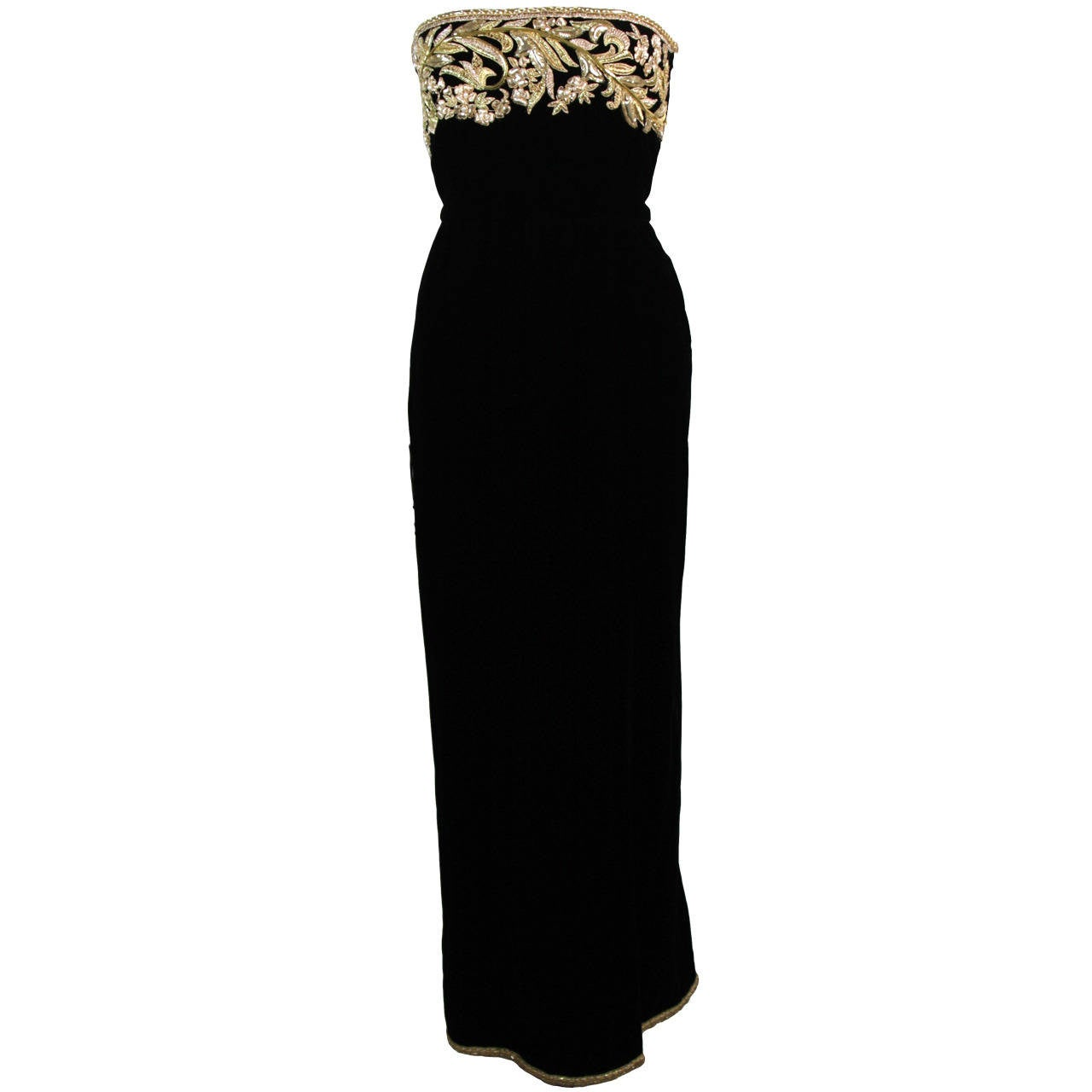 Oscar De La Renta Black Velvet Gown with Metallic Embellishments 1