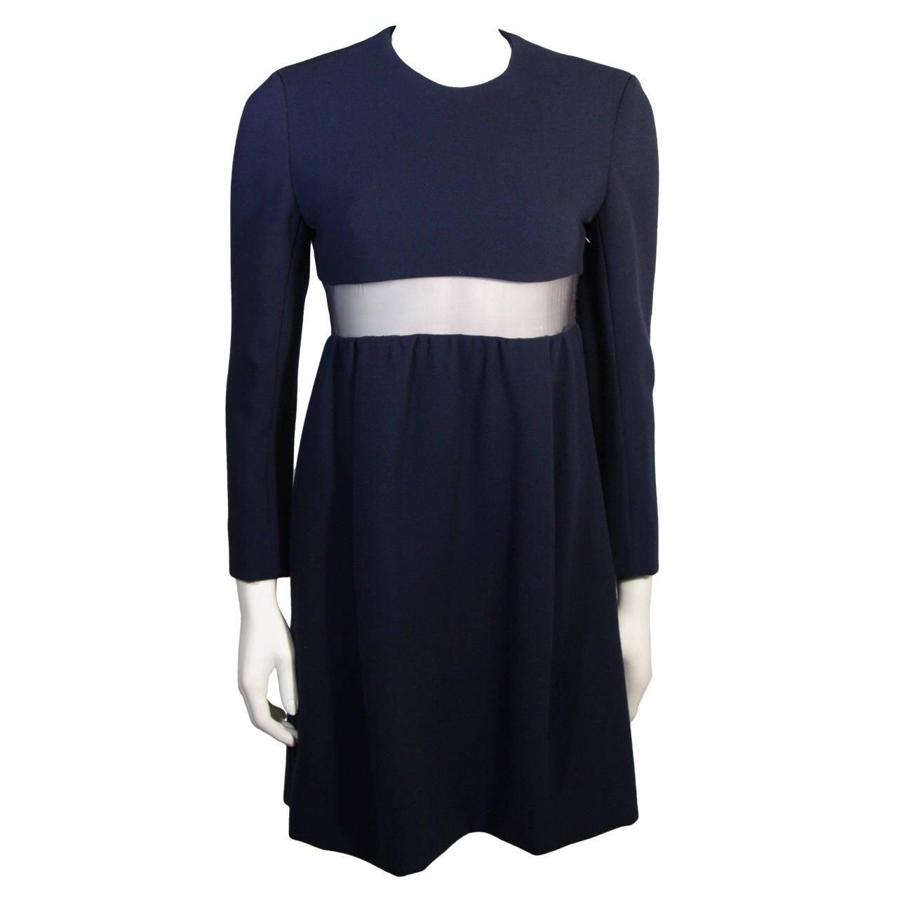 Galanos Navy Wool Mini Dress with Peek-a-boo Mesh Panel size 4