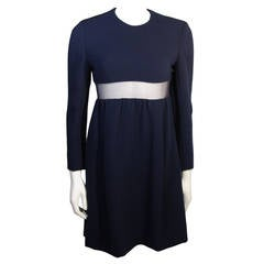 Galanos Navy Wool Mini Dress with Peek-a-boo Mesh Panel size 4