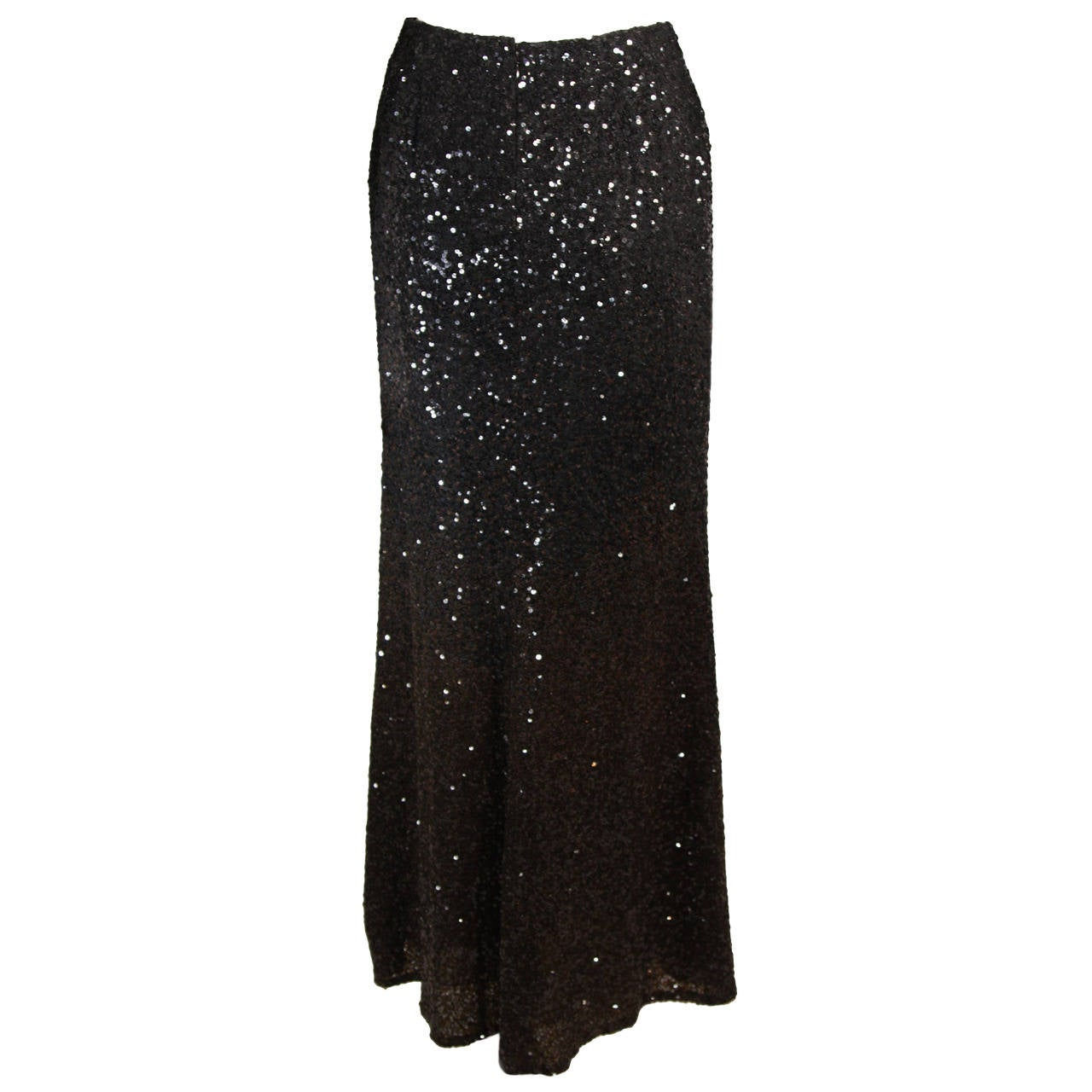 Bill Blass Long Sequin Skirt Black to Brown Ombre Size 6