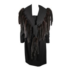 Travilla Black Wool Dress Ensemble with Mink Tail Fringed Coat Size 6-8