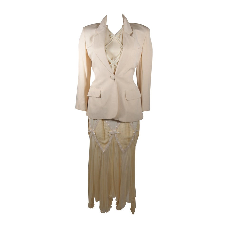 Moschino Cream Silk and Lace Three Piece Ensemble Size 42