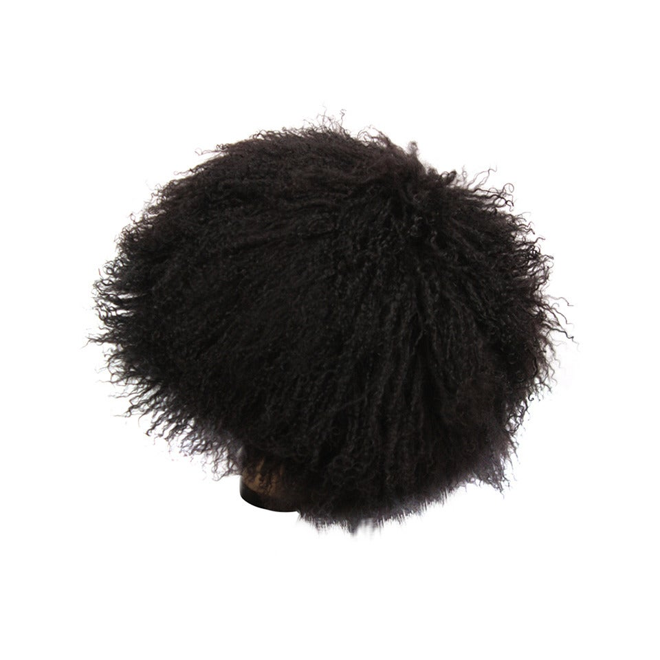 Patricia Underwood Black Mongolian Lamb Hat For Sale