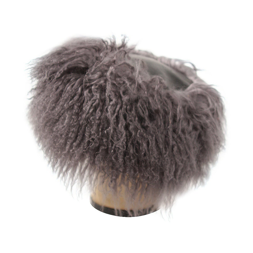 1980s Yves Saint Laurent Grey Leather & Mongolian Lamb Hat