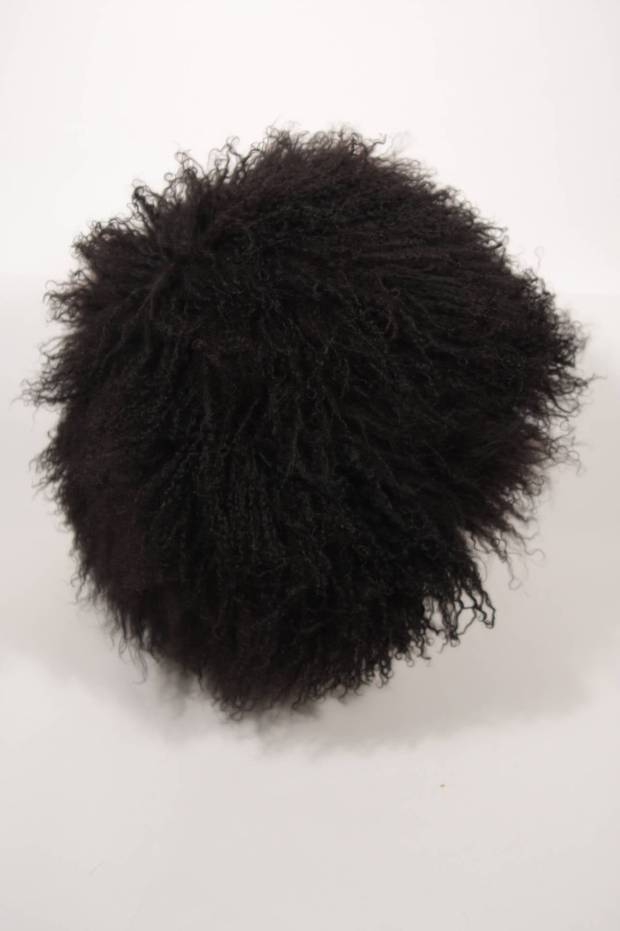 Patricia Underwood Black Mongolian Lamb Hat In Excellent Condition For Sale In Los Angeles, CA