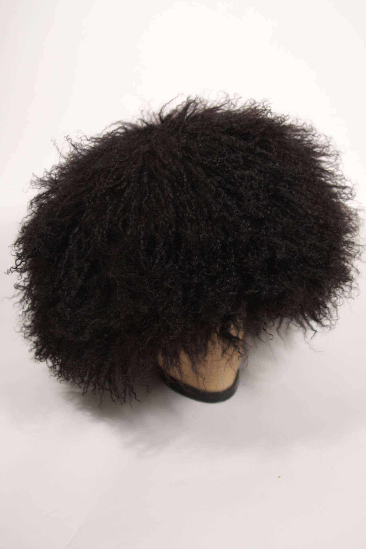 Patricia Underwood Black Mongolian Lamb Hat For Sale 1