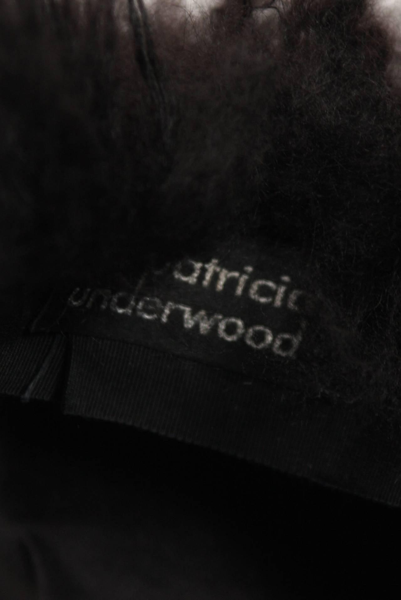 Patricia Underwood Black Mongolian Lamb Hat For Sale 2
