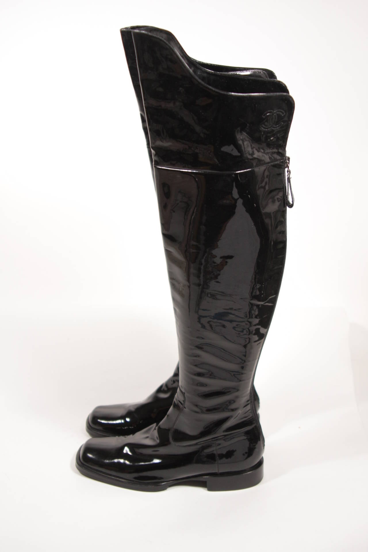 chanel black patent leather boots size 7 5 nwb at 1stdibs
