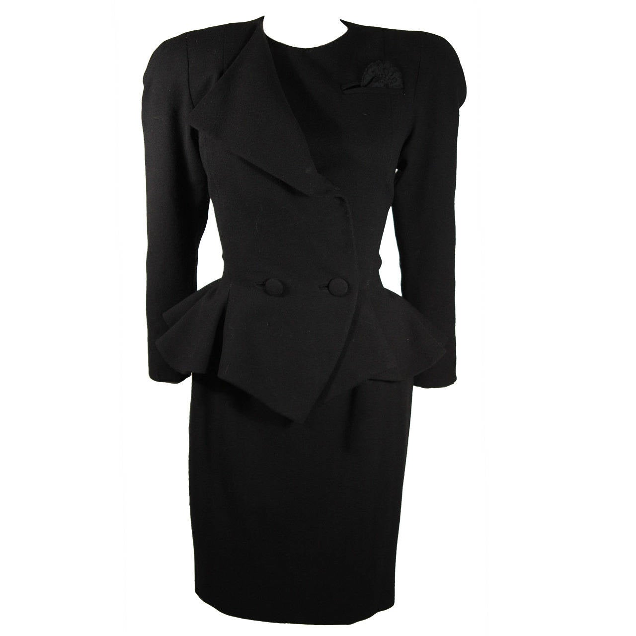 Travilla Black Structured Skirt Suit Size 8