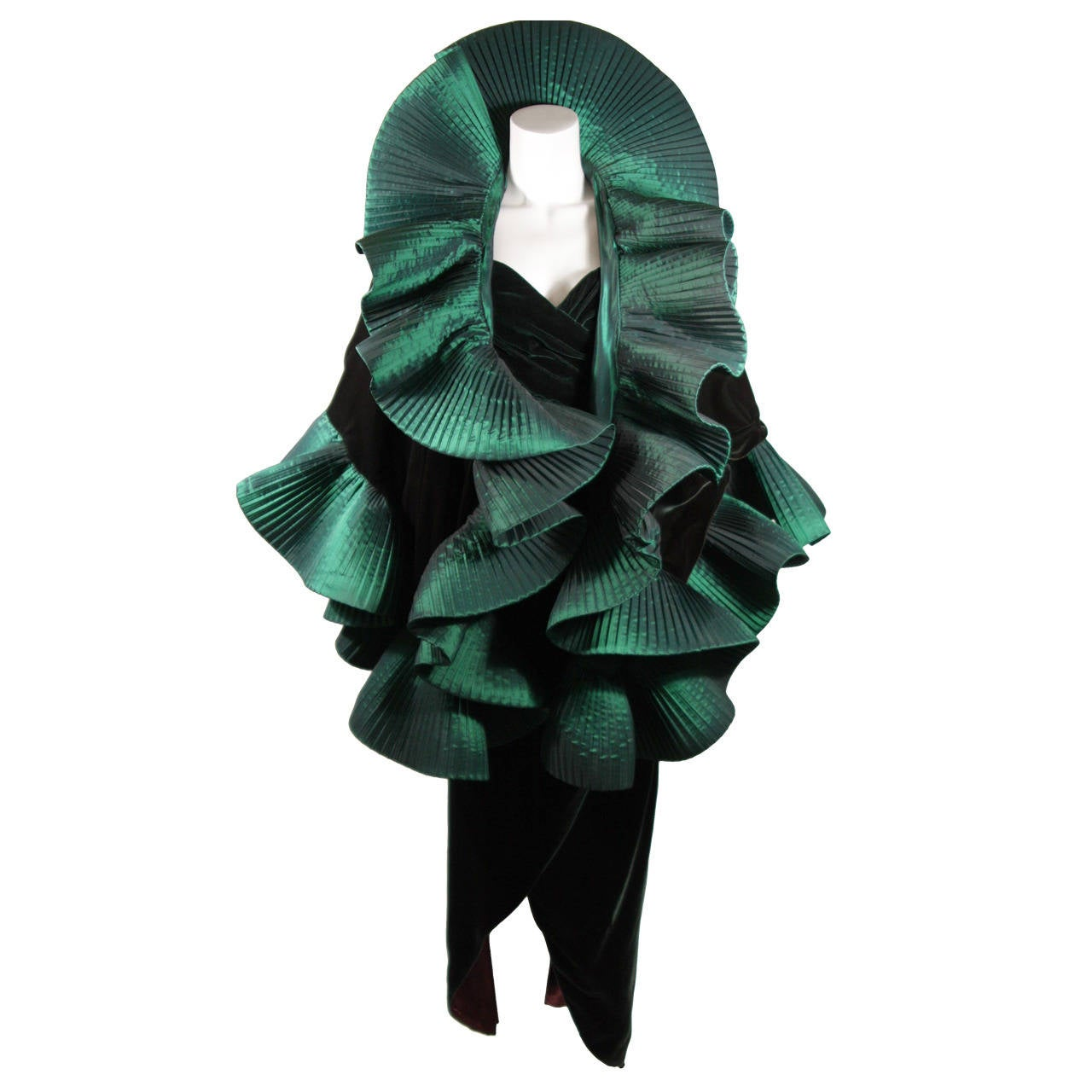 Victor Costa Green Velvet Gown with Large Ruffled ...