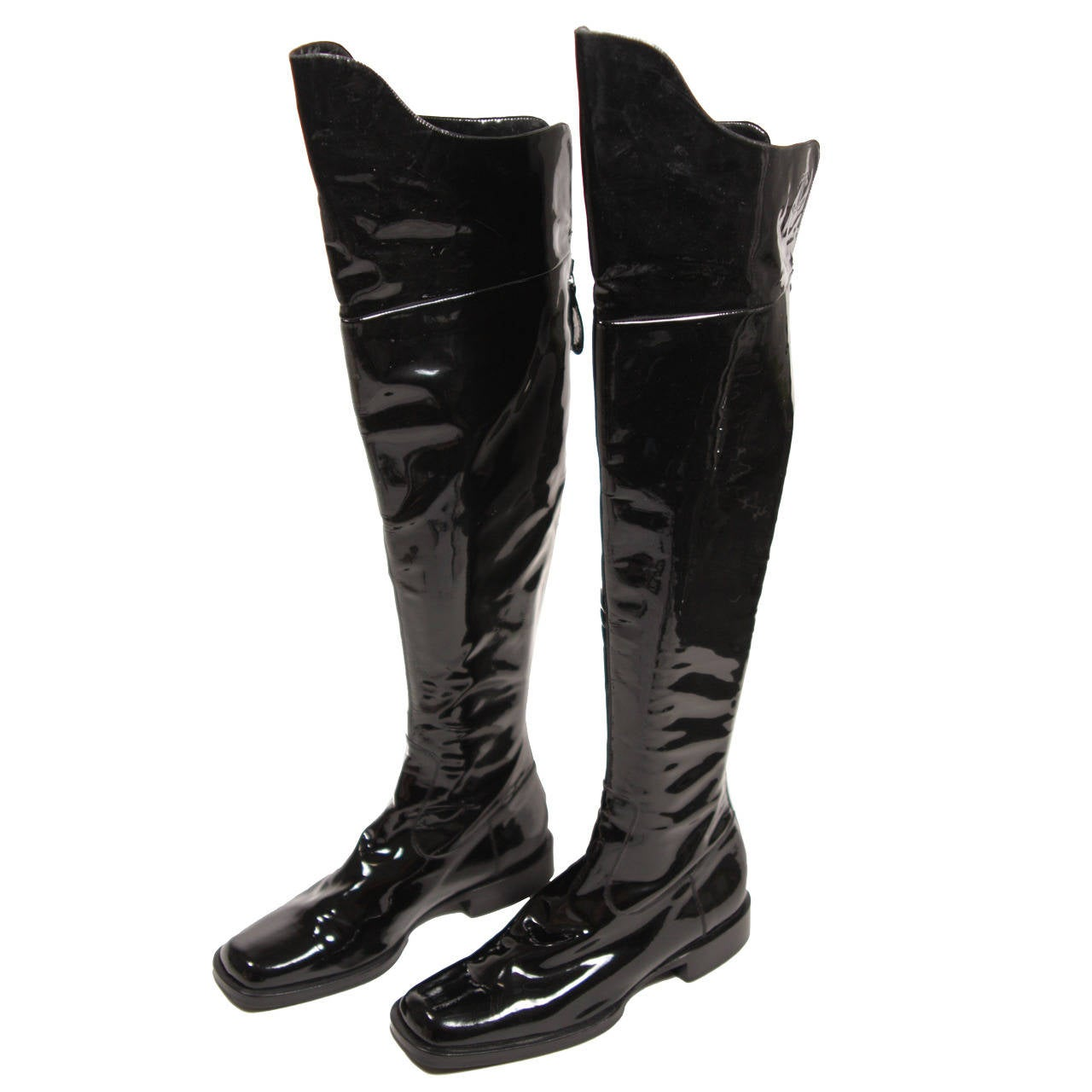 chanel knee high boots. chanel black patent leather boots size 7.5 nwb 1 knee high