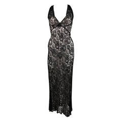 Black Stretch Lace Racer Style Back Gown