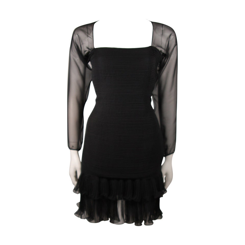 Oscar De La Renta Black Silk Chiffon Cocktail Dress Size 10