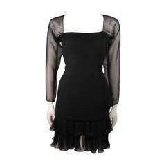 Oscar De La Renta Black Silk Chiffon Cocktail Dress Size 10