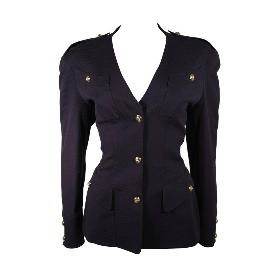Theirry Mugler Navy Military Inspired Blazer with Gold Buttons Size 42 1
