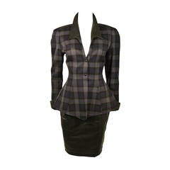 Thierry Mugler Navy and Grey Plaid Skirt Suit Size 38