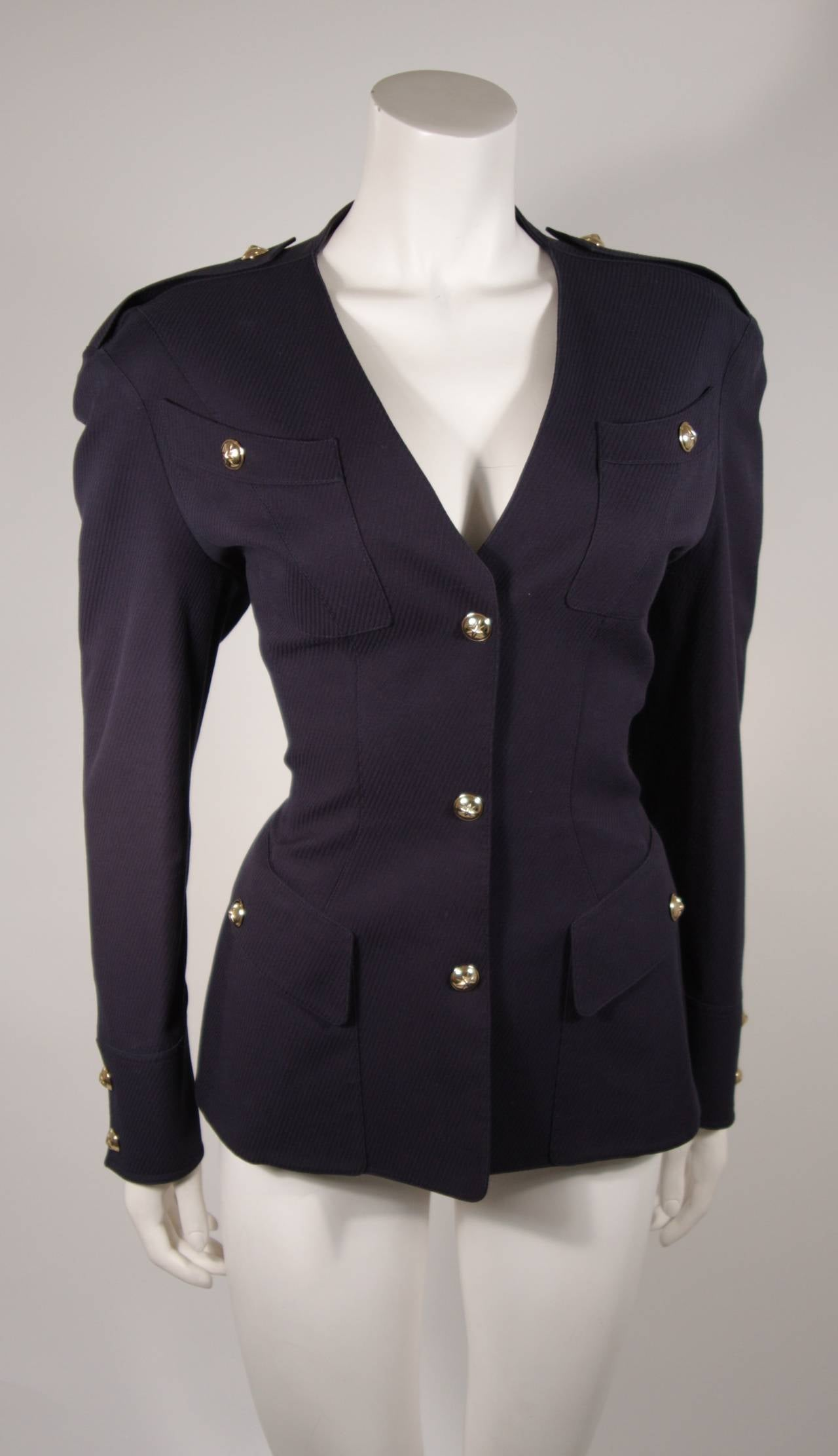 Theirry Mugler Navy Military Inspired Blazer with Gold Buttons Size 42 2