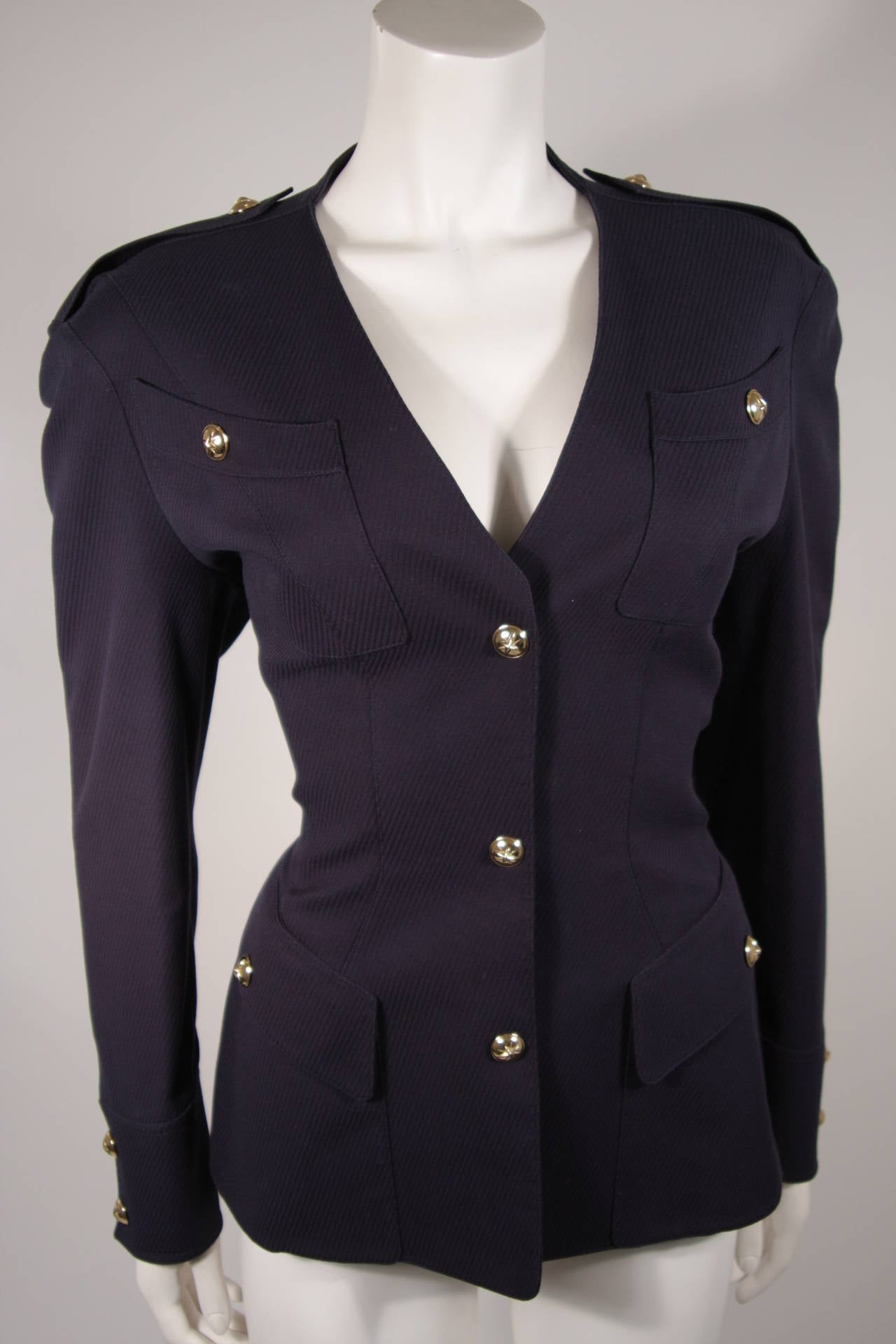 Theirry Mugler Navy Military Inspired Blazer with Gold Buttons Size 42 3