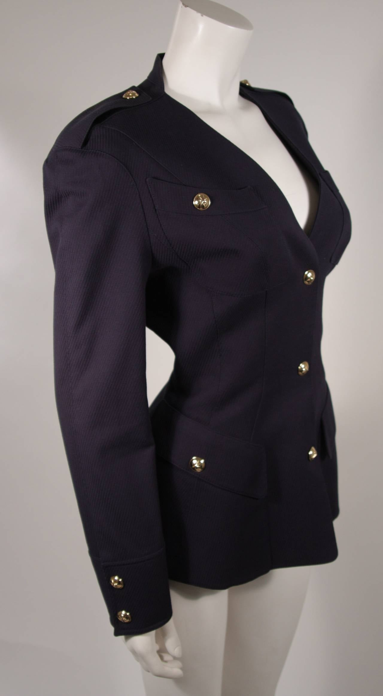 Theirry Mugler Navy Military Inspired Blazer with Gold Buttons Size 42 4